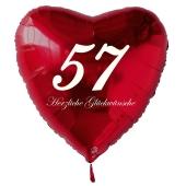 Zum 57. Geburtstag, roter Herzluftballon mit Helium