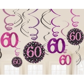 Dekoration zum 60. Geburtstag, Zahlenwirbler Pink Celebration