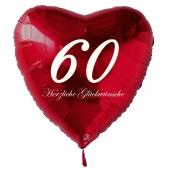 Zum 60. Geburtstag, roter Herzluftballon mit Helium