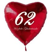 Roter Herzluftballon zum 62. Geburtstag, 61 cm