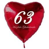 Zum 63. Geburtstag, roter Herzluftballon mit Helium