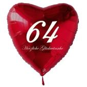 Zum 64. Geburtstag, roter Herzluftballon mit Helium