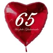 Zum 65. Geburtstag, roter Herzluftballon mit Helium