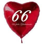 Zum 66. Geburtstag, roter Herzluftballon mit Helium