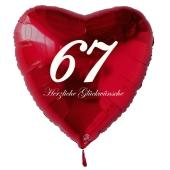 Zum 67. Geburtstag, roter Herzluftballon mit Helium