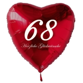 Roter Herzluftballon zum 68. Geburtstag, 61 cm