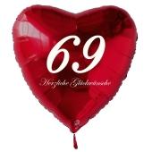 Zum 69. Geburtstag, roter Herzluftballon mit Helium