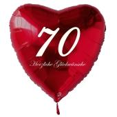 Zum 70. Geburtstag, roter Herzluftballon mit Helium
