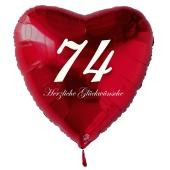 Zum 74. Geburtstag, roter Herzluftballon mit Helium
