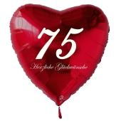 Zum 75. Geburtstag, roter Herzluftballon mit Helium