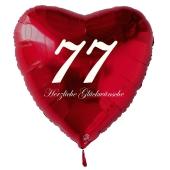 Zum 77. Geburtstag, roter Herzluftballon mit Helium