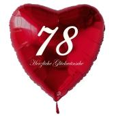 Roter Herzluftballon zum 78. Geburtstag, 61 cm