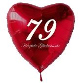 Zum 79. Geburtstag, roter Herzluftballon mit Helium