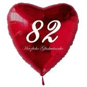 Zum 82. Geburtstag, roter Herzluftballon mit Helium