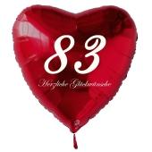 Zum 83. Geburtstag, roter Herzluftballon mit Helium