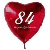 Zum 84. Geburtstag, roter Herzluftballon mit Helium