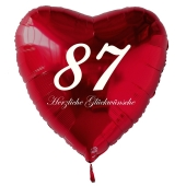 Zum 87. Geburtstag, roter Herzluftballon mit Helium