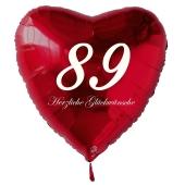 Zum 89. Geburtstag, roter Herzluftballon mit Helium