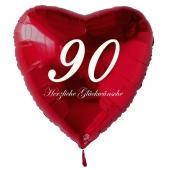 Zum 90. Geburtstag, roter Herzluftballon mit Helium