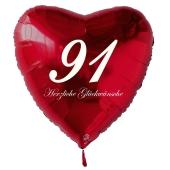 Zum 91. Geburtstag, roter Herzluftballon mit Helium