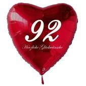Zum 92. Geburtstag, roter Herzluftballon mit Helium