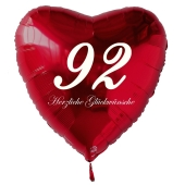 Roter Herzluftballon zum 92. Geburtstag, 61 cm