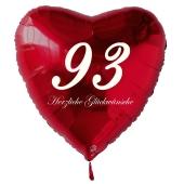 Zum 93. Geburtstag, roter Herzluftballon mit Helium