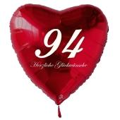 Zum 94. Geburtstag, roter Herzluftballon mit Helium