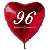 Zum 96. Geburtstag, roter Herzluftballon mit Helium