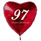 Zum 97. Geburtstag, roter Herzluftballon mit Helium