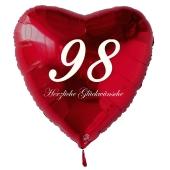 Zum 98. Geburtstag, roter Herzluftballon mit Helium