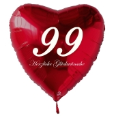 Zum 99. Geburtstag, roter Herzluftballon mit Helium