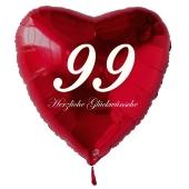 Roter Herzluftballon zum 99. Geburtstag, 61 cm