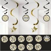 Dekoration zum Geburtstag, Zahlenwirbler Black and Gold
