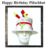Partyhut Geburtstag, Happy Birthday Plüschhut mit Geburtstagskerzen