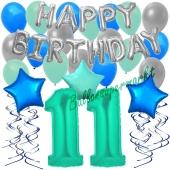 11. Geburtstag Dekorations-Set mit Ballons Happy Birthday Aquamarin, 34 Teile