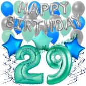 29. Geburtstag Dekorations-Set mit Ballons Happy Birthday Aquamarin, 34 Teile