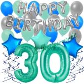 30. Geburtstag Dekorations-Set mit Ballons Happy Birthday Aquamarin, 34 Teile
