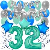 32. Geburtstag Dekorations-Set mit Ballons Happy Birthday Aquamarin, 34 Teile