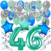 46. Geburtstag Dekorations-Set mit Ballons Happy Birthday Aquamarin, 34 Teile