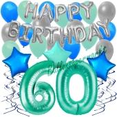 60. Geburtstag Dekorations-Set mit Ballons Happy Birthday Aquamarin, 34 Teile