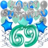 69. Geburtstag Dekorations-Set mit Ballons Happy Birthday Aquamarin, 34 Teile