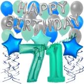 71. Geburtstag Dekorations-Set mit Ballons Happy Birthday Aquamarin, 34 Teile