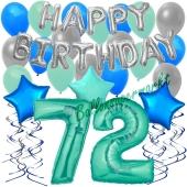 72. Geburtstag Dekorations-Set mit Ballons Happy Birthday Aquamarin, 34 Teile