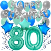 80. Geburtstag Dekorations-Set mit Ballons Happy Birthday Aquamarin, 34 Teile