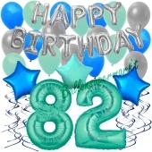82. Geburtstag Dekorations-Set mit Ballons Happy Birthday Aquamarin, 34 Teile