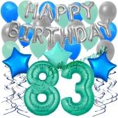 83. Geburtstag Dekorations-Set mit Ballons Happy Birthday Aquamarin, 34 Teile