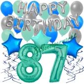 87. Geburtstag Dekorations-Set mit Ballons Happy Birthday Aquamarin, 34 Teile