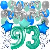 93. Geburtstag Dekorations-Set mit Ballons Happy Birthday Aquamarin, 34 Teile