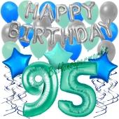 95. Geburtstag Dekorations-Set mit Ballons Happy Birthday Aquamarin, 34 Teile